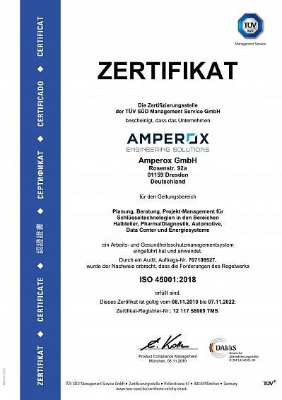 TÜV Zertifikat ISO45001